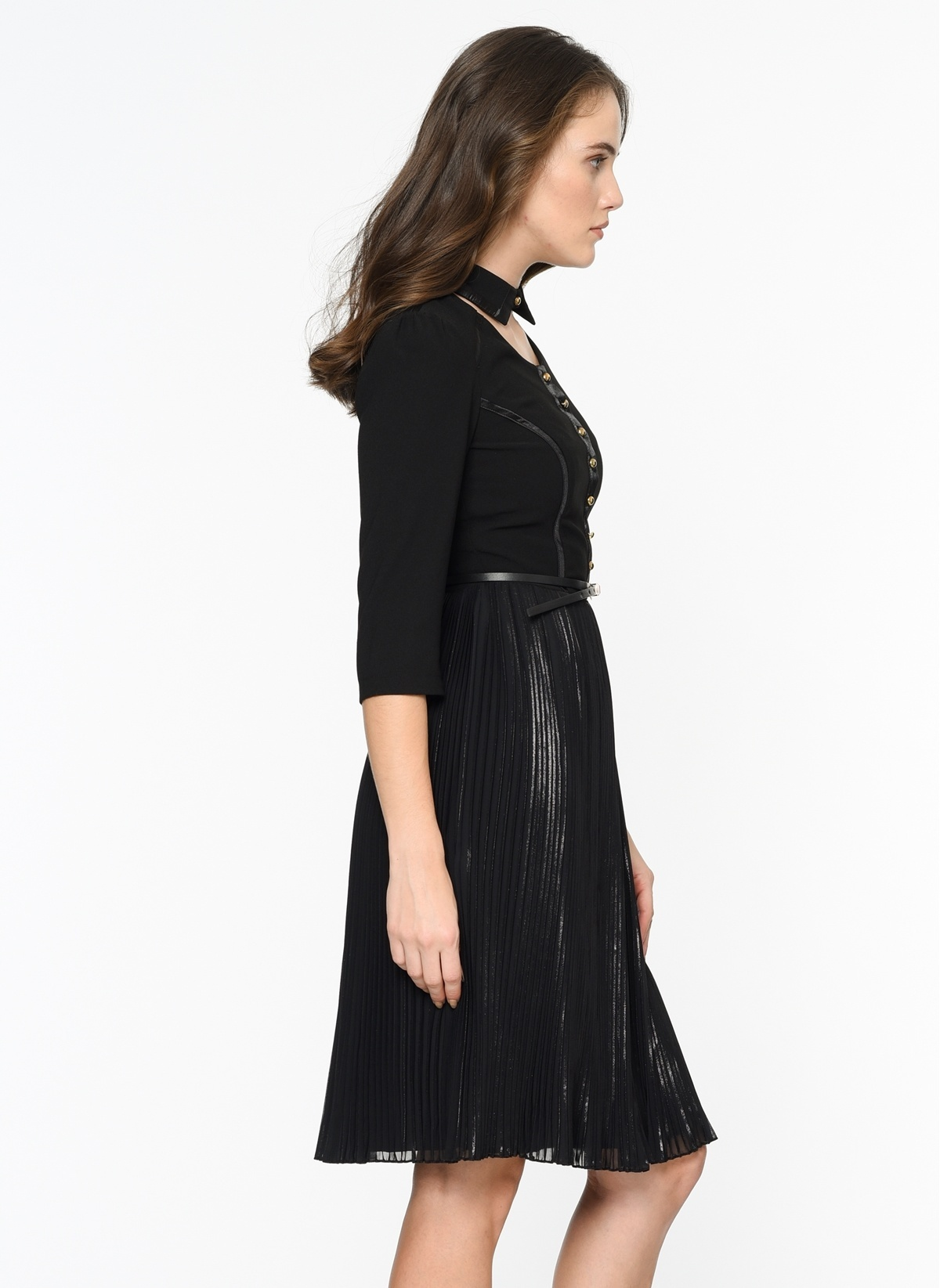 db4c197ebd76f Bovona Kadın Pileli Yarım Kollu Elbise Siyah | Morhipo | 19925202